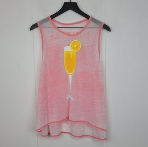 Chaser Pink Burnout Mimosas All Day Graphic Tank Size Small